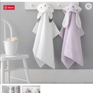 EUC - Pottery barn kids bunny towel purple